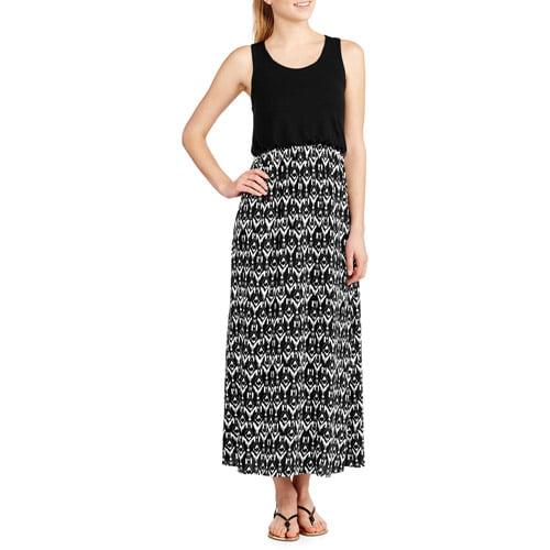 Fourteenth Place Women's Racerback Knit To Woven Maxi Dress
