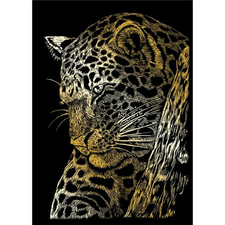 Gold Engraving Art (Leopard in Tree Gold Foil Engraving Art Mini Kit - 5 x 7 in. )
