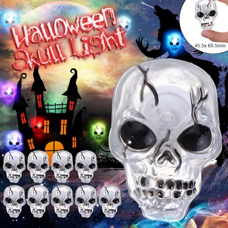 Church Street's Halloween Night Block Party (LED Skull Night Light,Flash Color Changing Skeleton Light for Halloween Party skull Light Lamp Home Decor)
