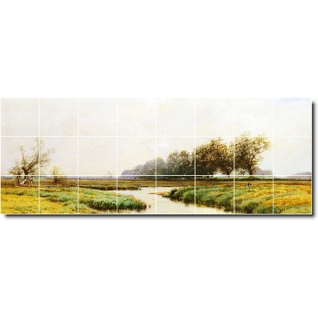 Ceramic Tile Mural Alfred Bricher Waterfront Painting 64 34 w x 12 75