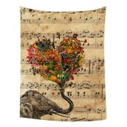 GCKG Music Note and Elephant with Colorful Paisley Heart Bedroom Living Room Art Wall Hanging Tapestry Size 80x60 inches