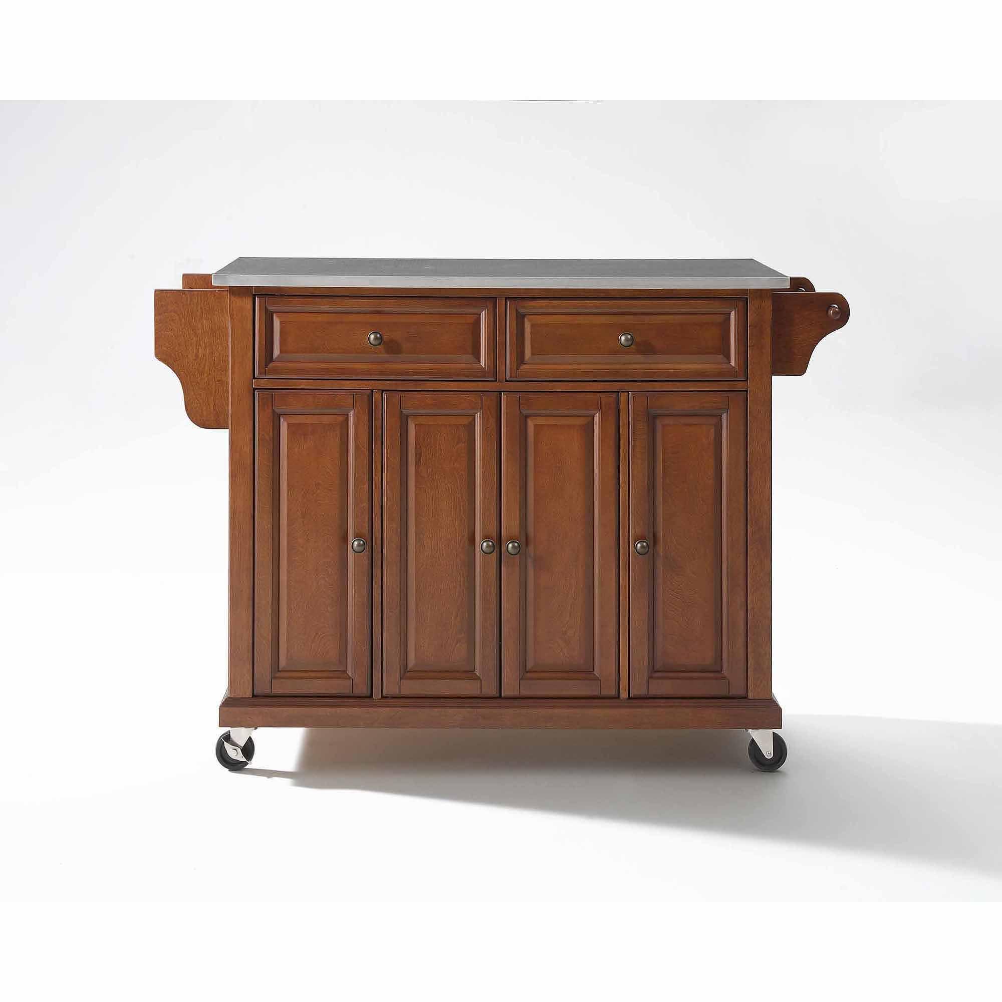 crosley furniture stainless steel top kitchen cart walmart