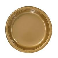 "Hanna K Plasticware Plastic Plate, Round, 7"", Gold, 50 Ct"
