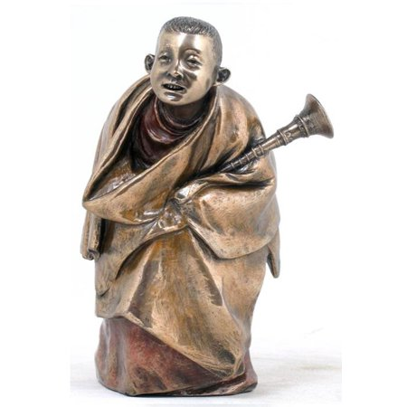 5 Inch Tibetan Monk Rag Dung Instrument Polished Bronze Hue