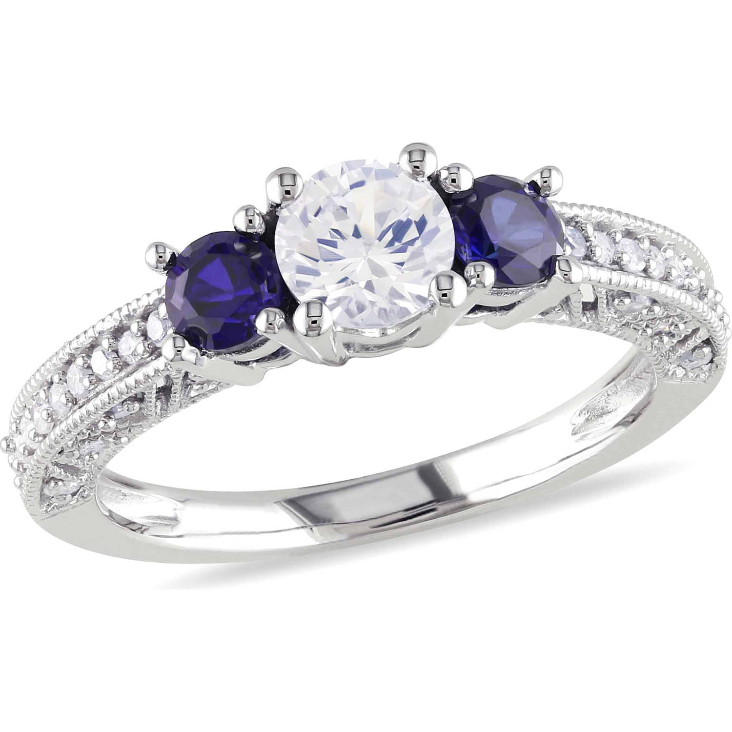 Tangelo 1 Carat T.G.W. Created White and Blue Sapphire and 1/6 Carat T.W. Diamond 10kt White Gold Three Stone Engagement Ring