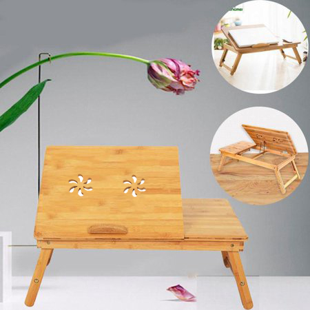 Ktaxon Portable Laptop Desk Folding Foldable Lap Tray Bed Adjustable Table Stand Bamboo