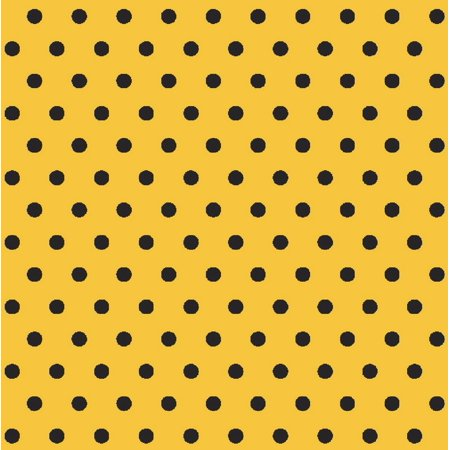 Iconic Coordinates Retro Black and Yellow Dot Fabric by the Yard