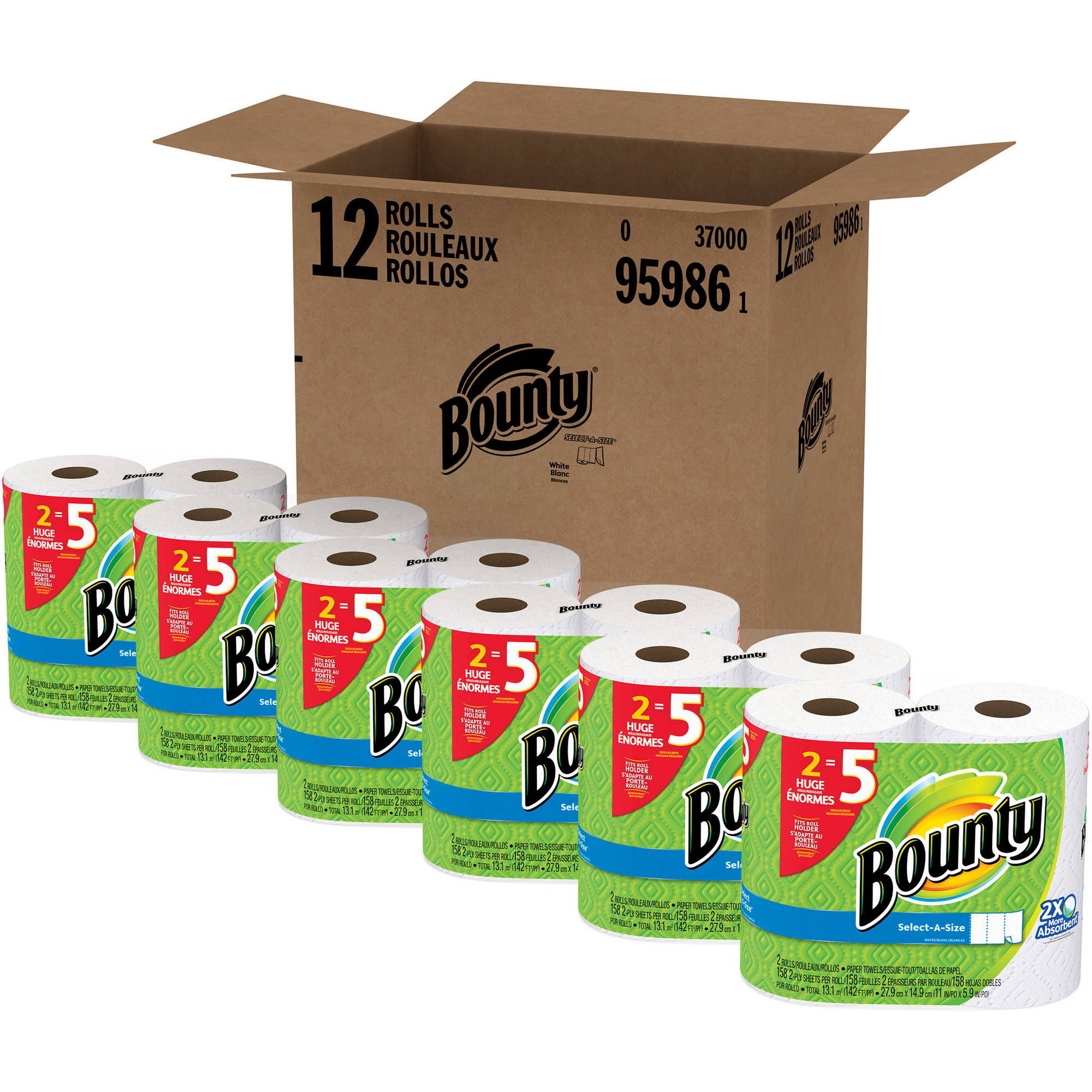 Bounty Select-a-Size Paper Towels Huge Rolls, 158 sheets, 12 rolls