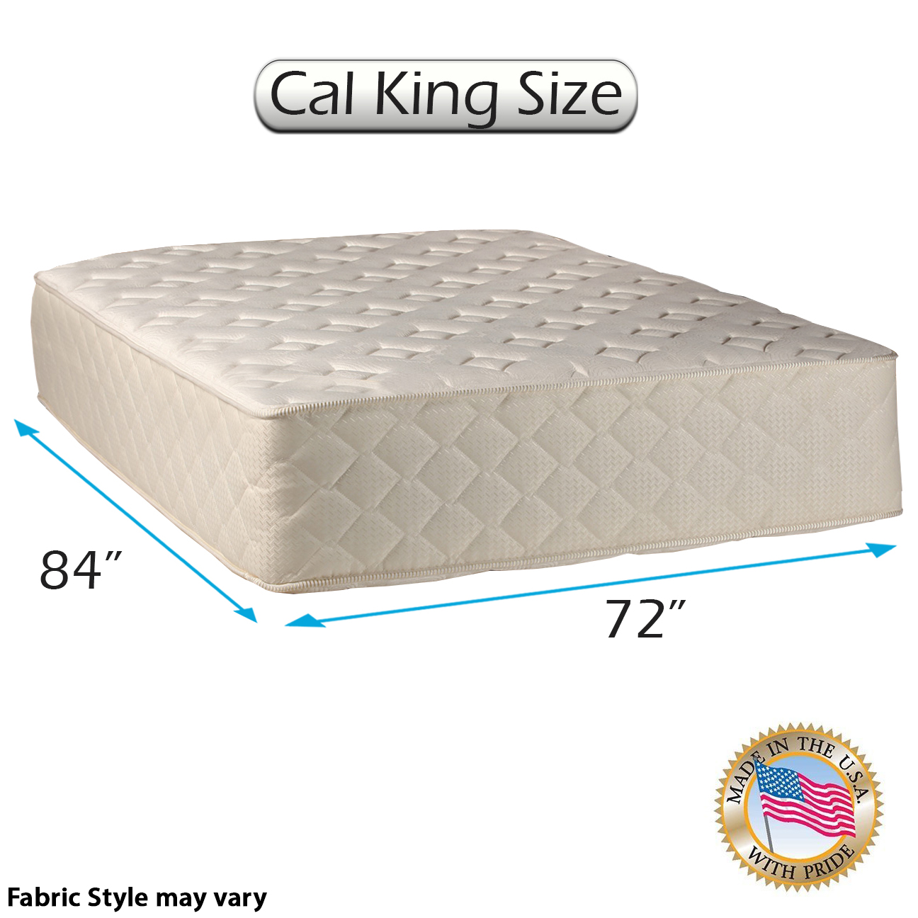 """Highlight Luxury Firm California King Size (72""""x84""""x14"""") Mattress Only - Fully Assembled - Spinal Back Support, Innerspring Coils, Premium edge guards, Longlasting Comfort - By Dream Solutions USA"""