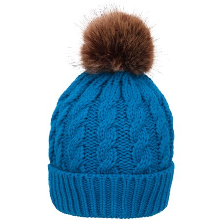 734568e346089 BASILICA - Winter Warm Knitted Faux Fur Pom Pom Beanie Hat for Women Royal  Blue - Walmart.com