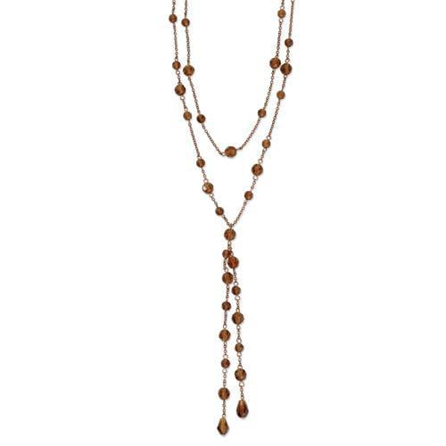 Copper-tone Colorado Crystal Double Strand 28in Necklace
