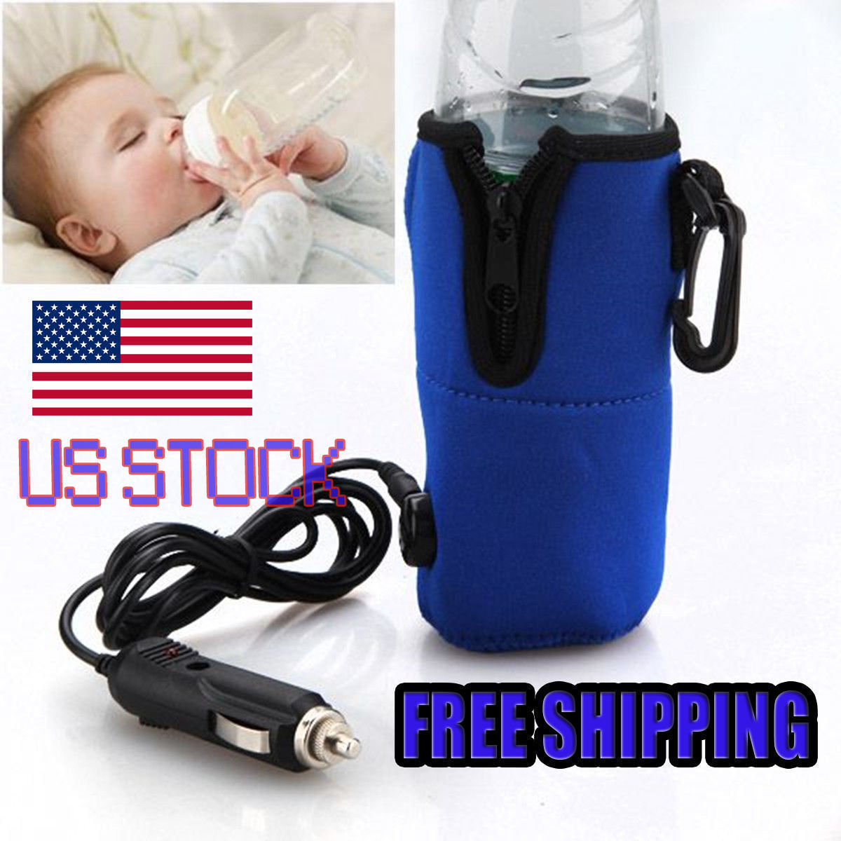 12V Food Milk Water Drink Bottle Cup Warmer Heater Car Auto Travel
