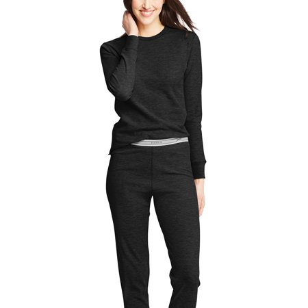 hanes women's x-temp thermal crew (small, black)