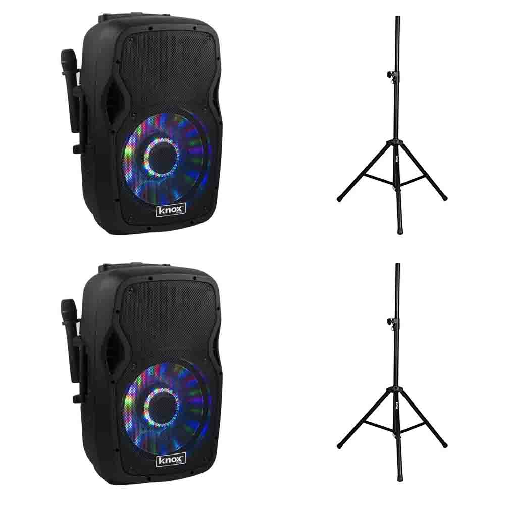 2 Knox 100-Watt 12-Inch Portable Bluetooth PA Speakers & 2 Steel Speaker Stands with Air Cushion