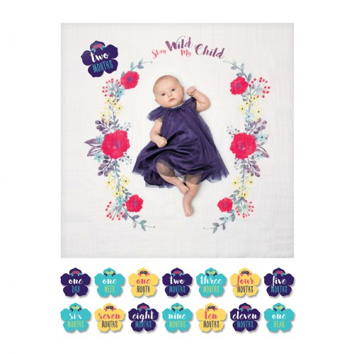 lulujo Stay Wild My Child Milestones Blanket & Cards Set - Stay Wild My Child