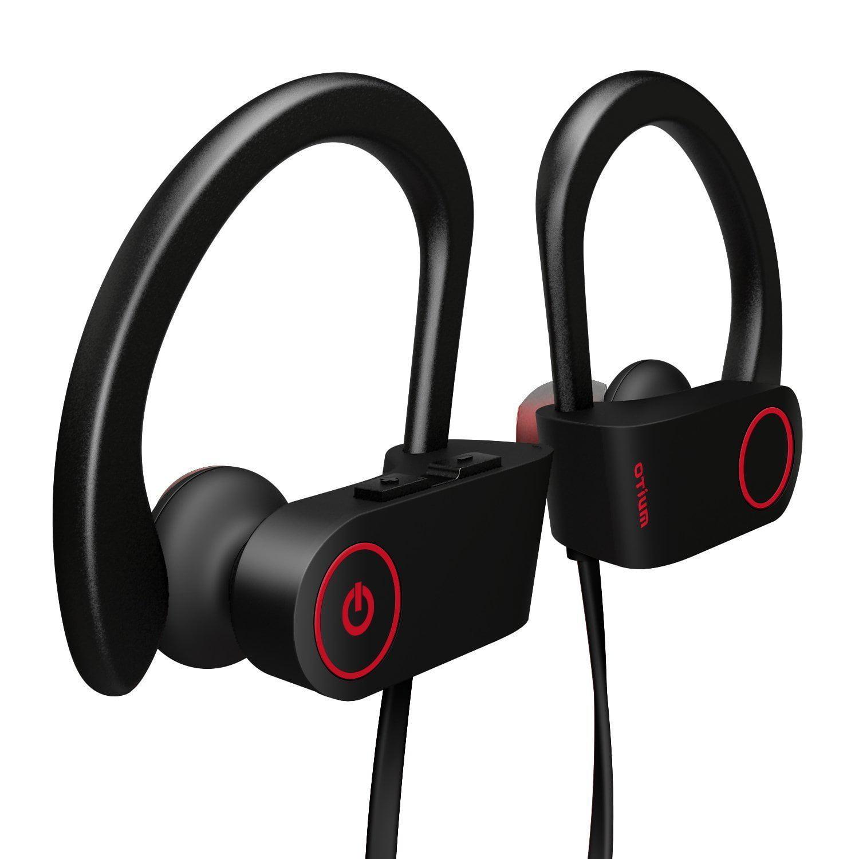 Bluetooth Headphones, Wireless Sports Earphones w/ Mic IPX7 Waterproof HD Stereo Sweatproof In Ear Earbuds for Gym Running Workout 8 Hour Battery Noise Cancelling Headsets