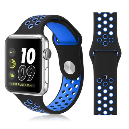 Mignova Replacement Silicone Sports Strap Band For Apple Watch Nike  Iwatch Series 2   Apple Iwatch Series 1  Nike   Sport Band   Size M L  38Mm   Black   Blue