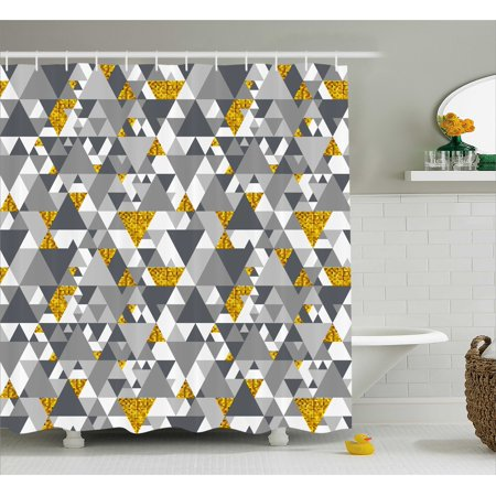 Grey And Yellow Shower Curtain Zig Zag Triangles Futuristic Design With Details Fabric Bathroom Set Hooks Marigold Charcoal White