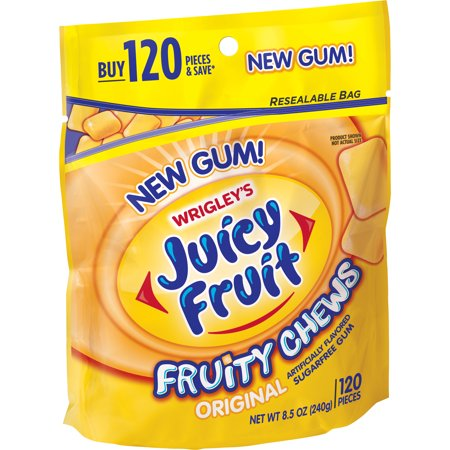 (2 Pack) Juicy Fruit Gum, Fruity Chews, Sugarfree Chewing Gum, Resalable Bag, 120 Pieces
