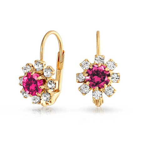 Fuchsia Pink and White Crystal Flower 18k Gold Plated Brass Leverback Drop Earrings For Women Simulated Ruby