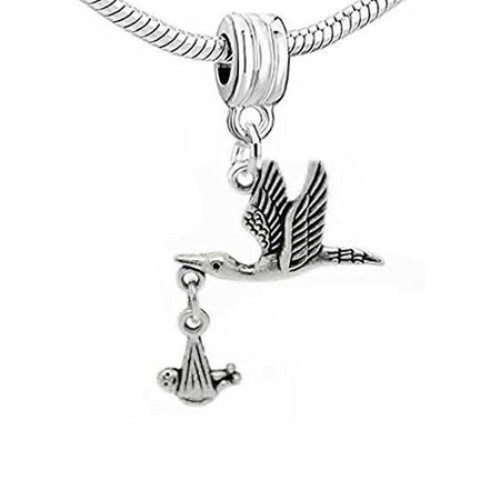 Bead Baby Bracelet - Flying Stork W/dangling Baby Dangle Charm European Bead Compatible for Most European Snake Chain Bracelet