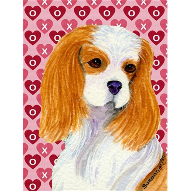 Carolines Treasures SS4527GF 11 x 15 In. Cavalier Spaniel Hearts Love And Valentines Day Portrait Flag, Garden Size - image 1 of 1