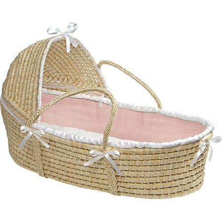 Badger Basket Natural Hooded Moses Basket, Pink Waffle Bedding