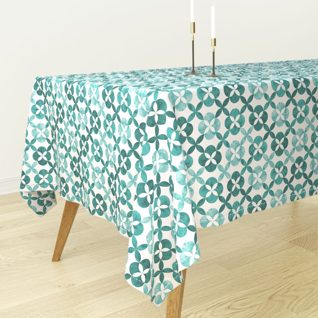 Ordinaire Tablecloth Geometric Flowers Tiles Teal Fun Home Decor Interior Cotton  Sateen   Walmart.com