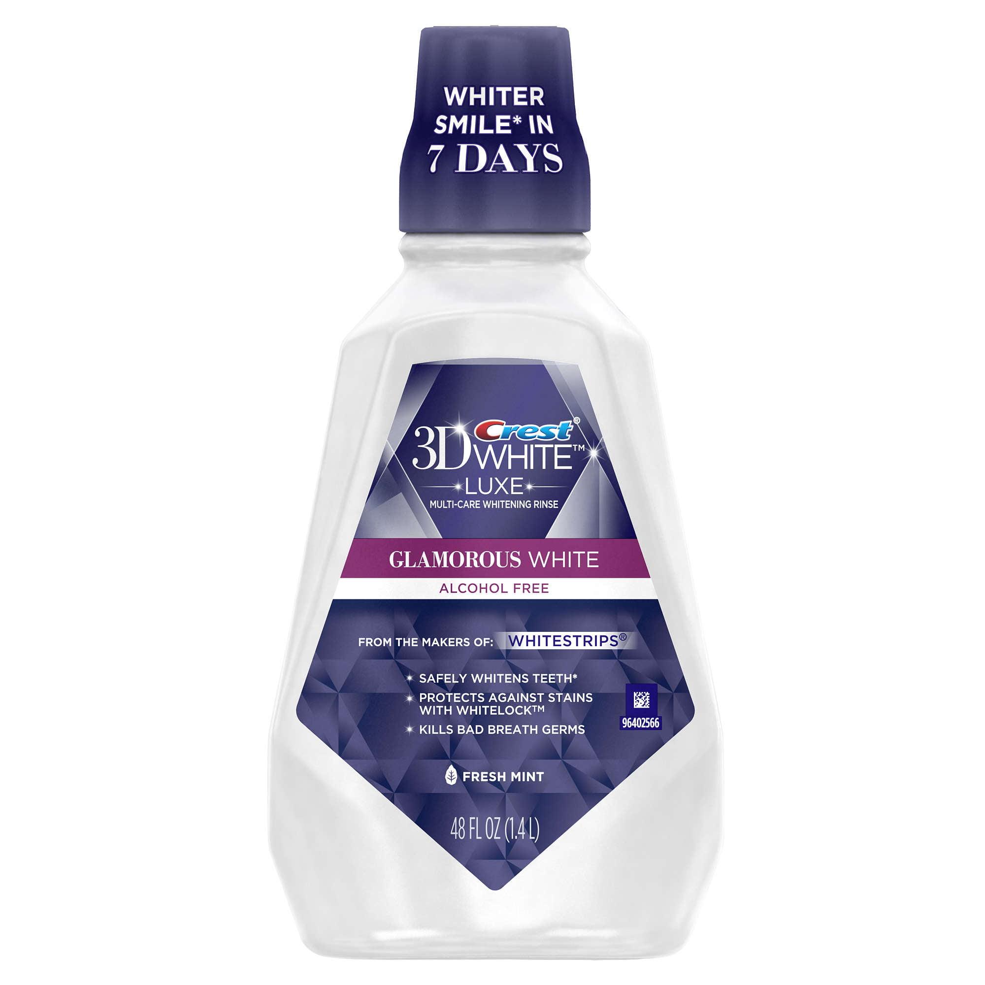 Crest 3D White Luxe Whitening Mouthwash, Fresh Mint, 48 Fl