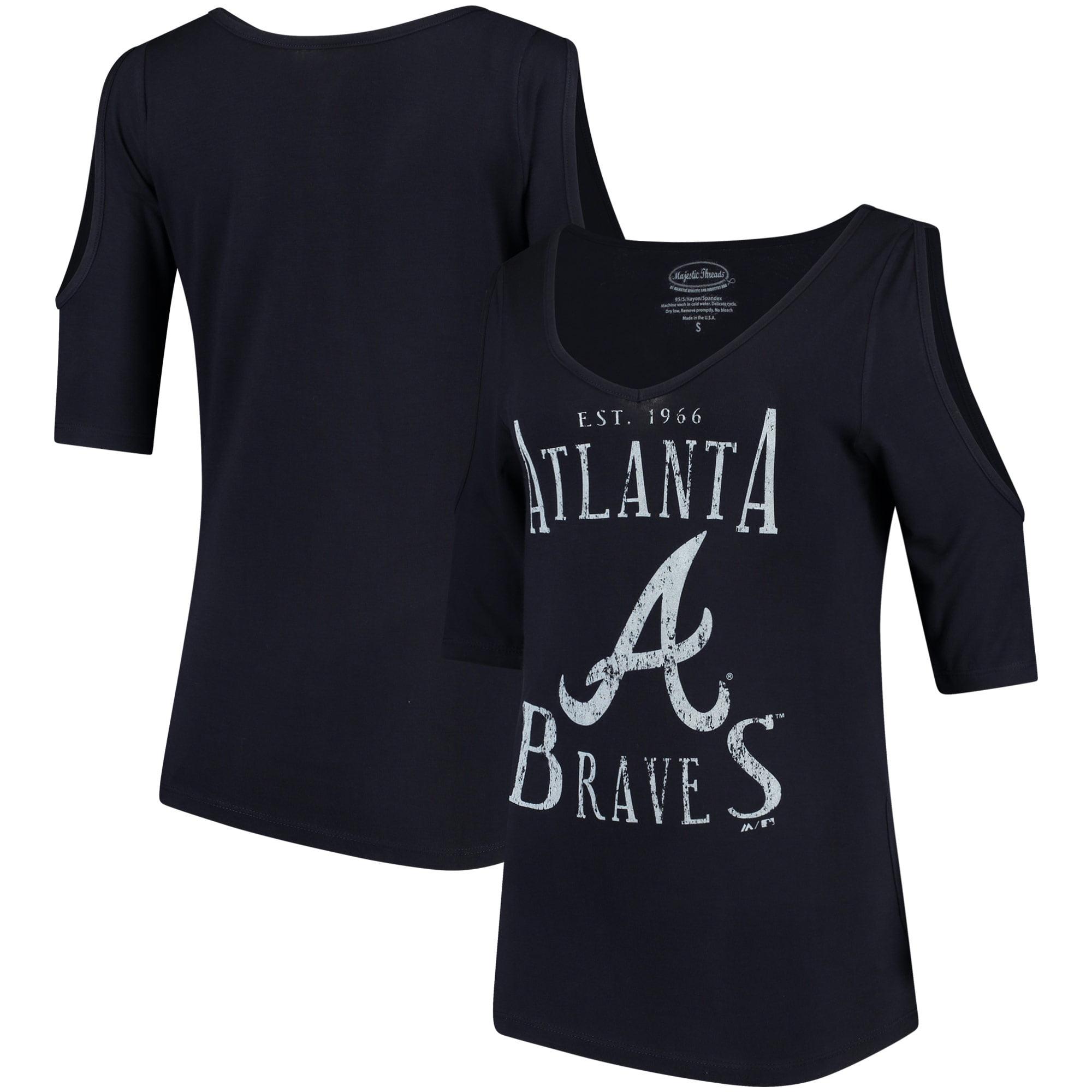 Atlanta Braves Majestic Threads Women's Elbow Sleeve Cold Shoulder V-Neck 3/4-Sleeve Blouse - Navy
