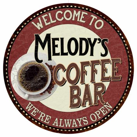 Melody Coffee (Melody's Coffee Bar Round Metal Sign Kitchen Room Wall Décor 200120041351 )