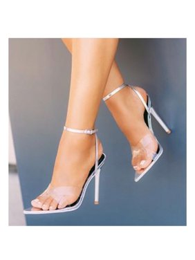 d05788319567 Product Image Cape Robbin DoubleCross Silver Pointed Open Toe Transparent Strap  High Sandal (8)