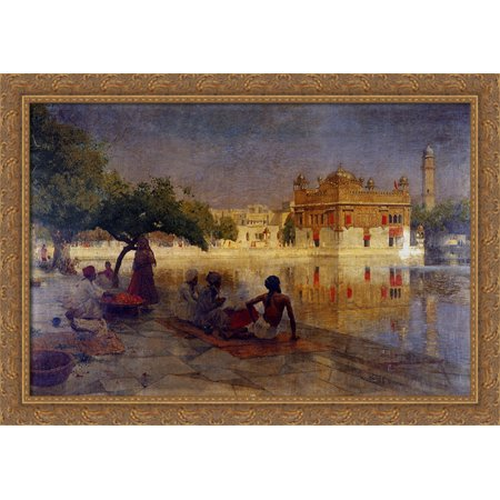 Acetate Temples Frame - The Golden Temple, Amritsar 40x28 Large Gold Ornate Wood Framed Canvas Art by Edwin Lord Weeks