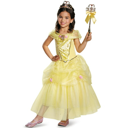 Disney Beauty and the Beast Belle Deluxe Sparkle Toddler Halloween Costume (Toddler Farmer Halloween Costume)
