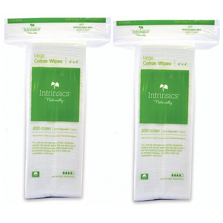 "Intrinsics Naturally 100% Naturelle Large Cotton Wipes 4"" x 4"" (200 Count) (Pack Of 2)"