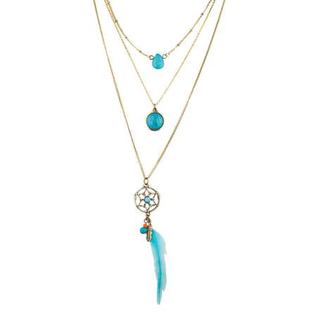 Dreamcatcher Pendant Necklace (Lux Accessories Turquoise ' Dream Catcher' Layered Necklace (3PC) )