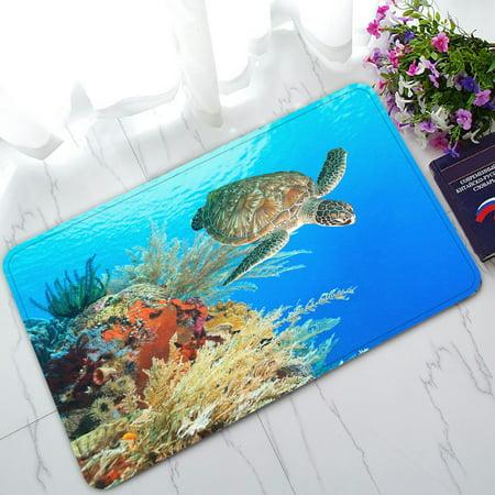 PHFZK Ocean Doormat, Underwater World Sea Turtle and Coral Reef Doormat Outdoors/Indoor Doormat Home Floor Mats Rugs Size 30x18 inches