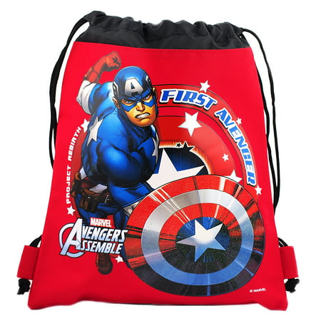 Captain America Character Authentic Licensed Red Drawstring Bag](Captain America Shield Backpack)