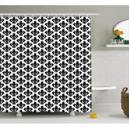 Fleur De Lis Shower Curtain, Monochrome Royal Lily Pattern Victorian Inspiration Ornamental Vintage Design, Fabric Bathroom Set with Hooks, 69W X 84L Inches Extra Long, Black White, by Ambesonne