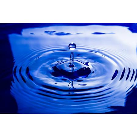 Canvas Print Drop Water Wave Liquid Splash Blue Droplet Still Stretched Canvas 10 x 14