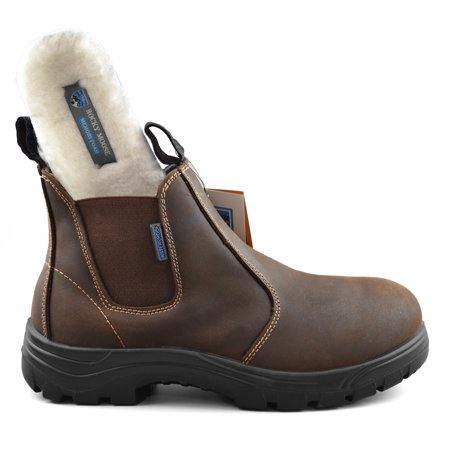 dfc8533e066 Rocky Moose Men's Leather Waterproof Soft Toe Winter Boots Light Weight 3M  Thinsulate Slip On Work Boots - Builder