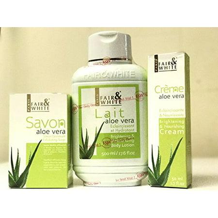 Fair & White Aloe Vera (Value Pack) Savon Exfoliating Soap 200g, Moisturizing Body Lotion 500ml & Nourishing Cream 50ml