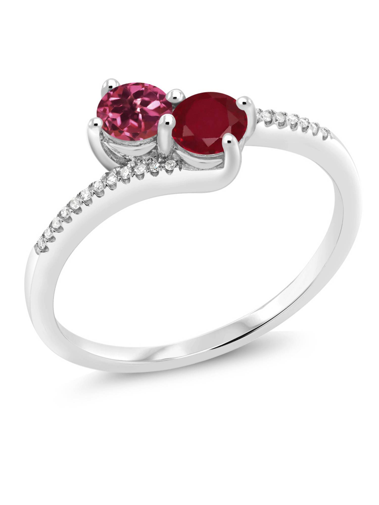 0.71 Ct Round Pink Tourmaline Red Ruby 10K White Gold Ring by