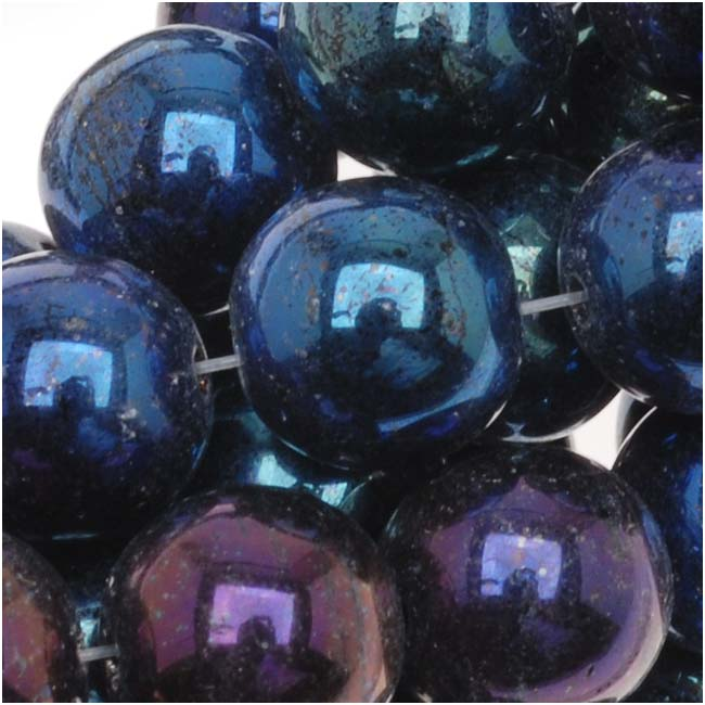 Czech Glass Druk Round Beads 8mm Blue Iris (25)