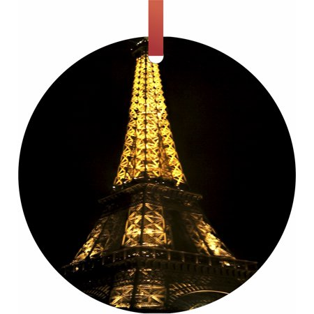 Eiffel Tower Lit Up for Christmas Hanging Round Shaped Tree Ornament - (Flat) - Holiday Christmas - Tm - Made in the USA ()