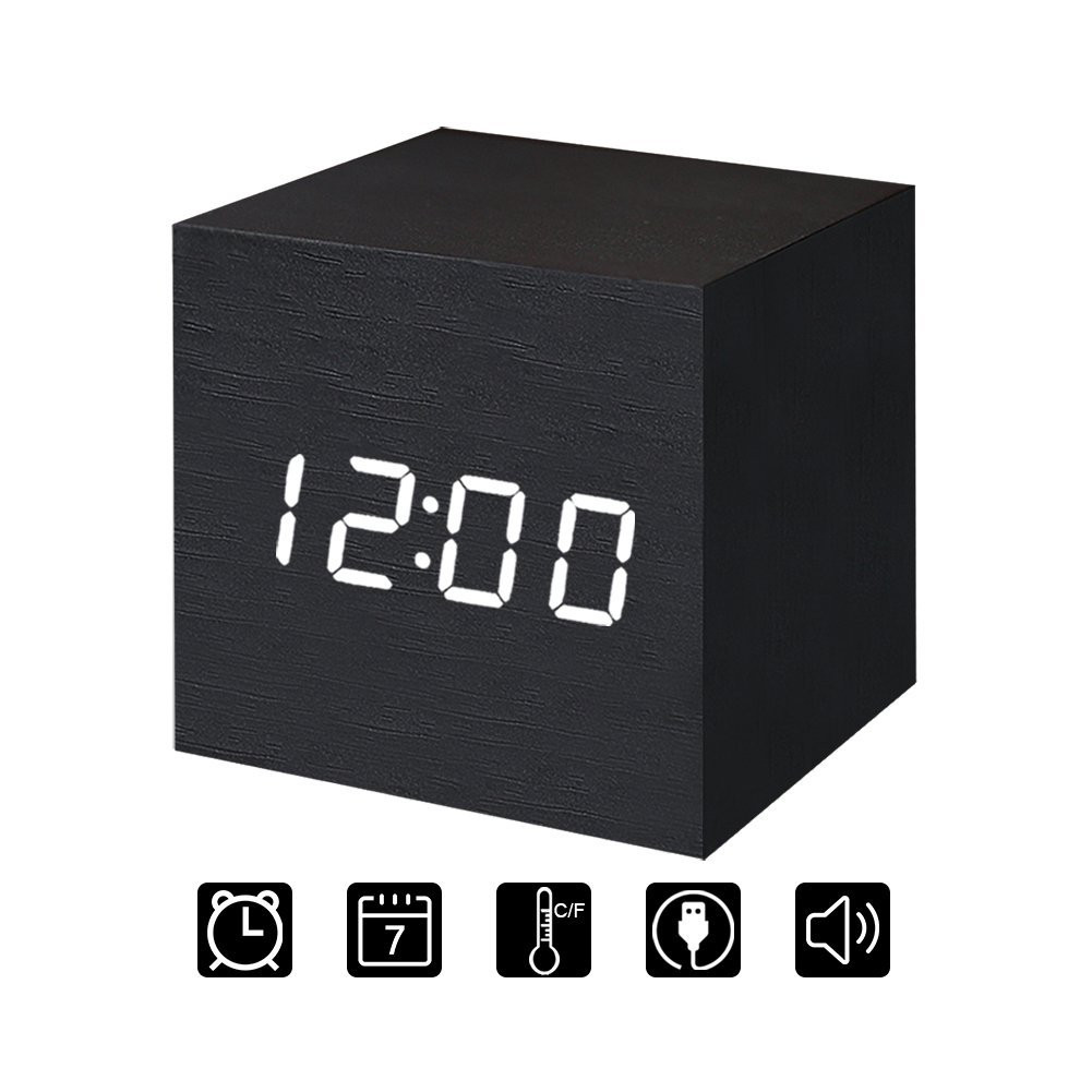 Wooden LED Digital Alarm Clock, Displays Time Date And Temperature, Cube USB/ 3AAA Battery Powered Sound Control Desk Alarm Clock for Kid, Home, Office, Daily Life, Heavy Sleepers (Brown)