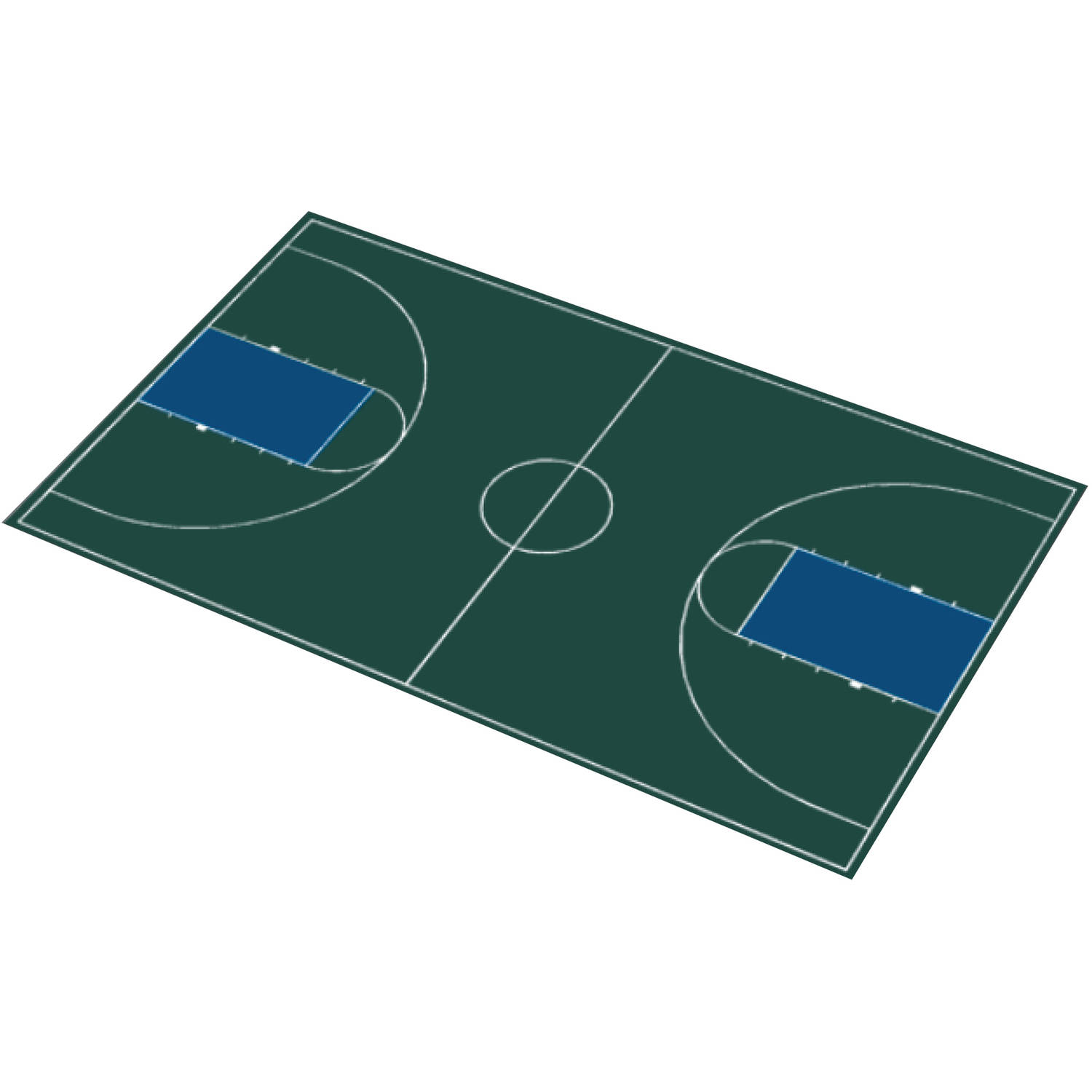 """DuraPlay Full Court Basketball Kit, 51' x 83'11"""", Hunter Green and Navy Blue"""
