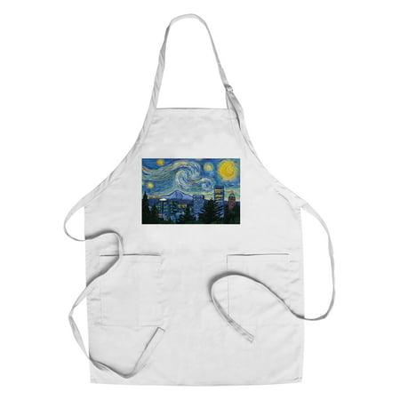 Portland  Oregon   Skyline   Van Gogh Starry Night   Lantern Press Artwork  Cotton Polyester Chefs Apron