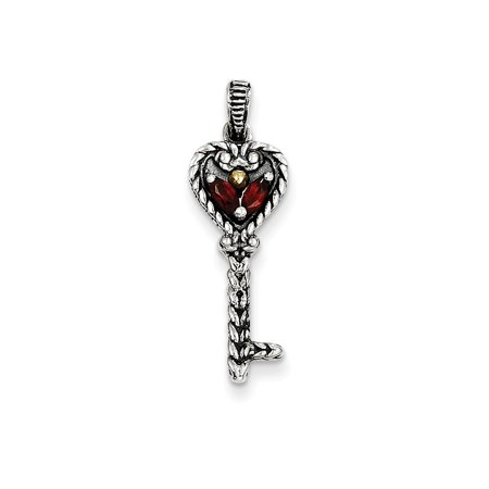 Roy Rose Jewelry Sterling Silver with 14K Yellow Gold Garnet Key Charm Gold Birthstone Charm