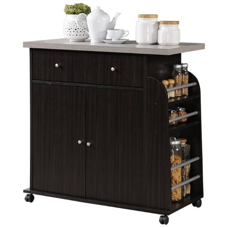 Hodedah Kitchen Cart with Spice Rack in Chocolate - image 1 of 7